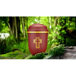 Biodegradable Cremation Ashes Funeral Urn / Casket - RED BEACON with GOLD BLESSED CROSS