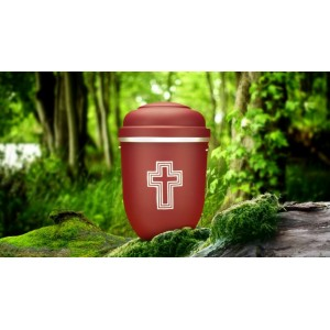 Biodegradable Cremation Ashes Funeral Urn / Casket - RED BEACON with SILVER BLESSED CROSS