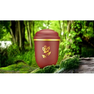 Biodegradable Cremation Ashes Funeral Urn / Casket - RED BEACON with GOLDEN ROSE