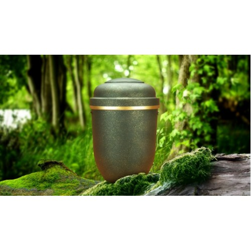 Biodegradable Cremation Ashes Funeral Urn / Casket - BLACK STILLNESS with GOLD BAND