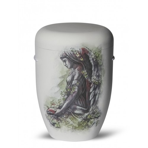 Biodegradable Cremation Ashes Funeral Urn / Casket - LOVING ANGEL (Watching Over)