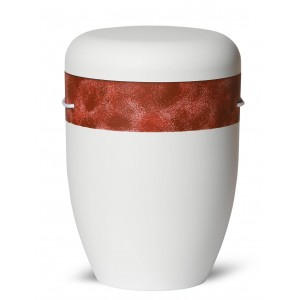 Biodegradable Cremation Ashes Funeral Urn / Casket – ANTIQUE RED, BROWN & WHITE
