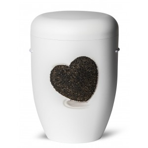 Biodegradable Cremation Ashes Funeral Urn / Casket – Heart Design – PURITY WHITE