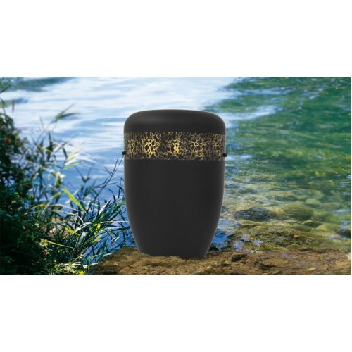 Biodegradable Cremation Ashes Funeral Urn / Casket - HAND BEATEN GOLD BAND EFFECT