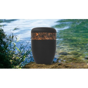 Biodegradable Cremation Ashes Funeral Urn / Casket - HAND BEATEN COPPER BAND EFFECT