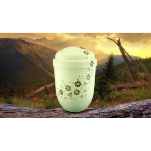 Biodegradable Cremation Ashes Funeral Urn / Casket - CREAM & MOCCA FLORAL DECORATION