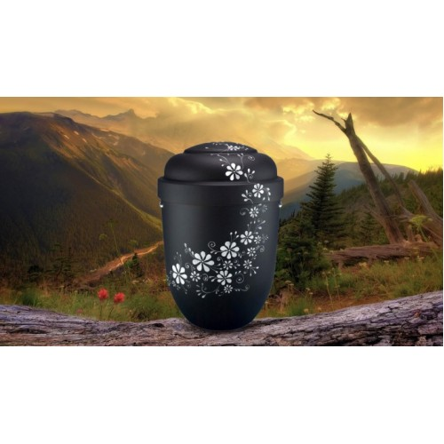Biodegradable Cremation Ashes Funeral Urn / Casket - BLACK & WHITE FLORAL DECORATION