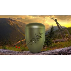 Biodegradable Cremation Ashes Funeral Urn / Casket - GRAPHITE & EBONY FLORAL DECORATION