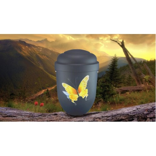 Biodegradable Cremation Ashes Funeral Urn / Casket - YELLOW BUTTERFLY