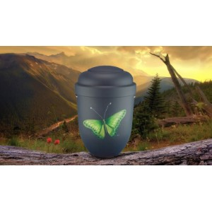 Biodegradable Cremation Ashes Funeral Urn / Casket - GREEN BUTTERFLY