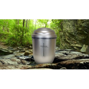 Biodegradable Cremation Ashes Funeral Urn / Casket - SILVER SPIRIT (CHRISTIAN CROSS)