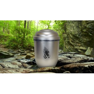 Biodegradable Cremation Ashes Funeral Urn / Casket - SILVER SPIRIT (PRAYING HANDS)