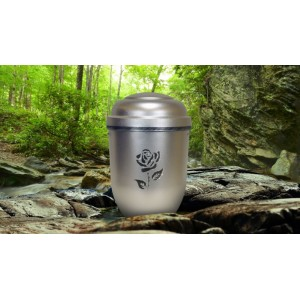 Biodegradable Cremation Ashes Funeral Urn / Casket - SILVER SPIRIT (FLORAL ROSE)