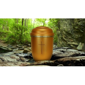 Biodegradable Cremation Ashes Funeral Urn / Casket - SHINING DAWN (CHRISTIAN CROSS)