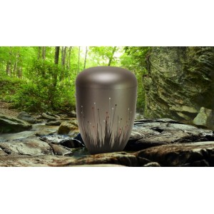 Biodegradable Cremation Ashes Funeral Urn / Casket - FREEDOM GREY (WOODLAND BUDS) B