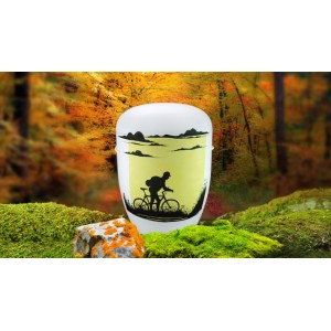 Biodegradable Cremation Ashes Funeral Urn / Casket - SERENE BIKE RIDER