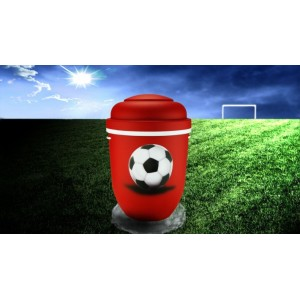 Biodegradable Cremation Ashes Funeral Urn / Casket - RED & WHITE (FOOTBALL)