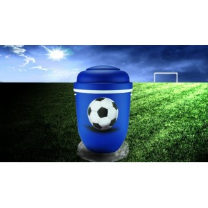 Biodegradable Cremation Ashes Funeral Urn / Casket - BLUE & WHITE (FOOTBALL)