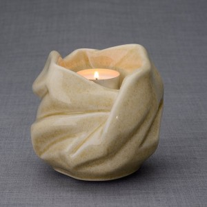 Ceramic Candle Holder Keepsake Urn -  Virgin Mary – Light Sandstone