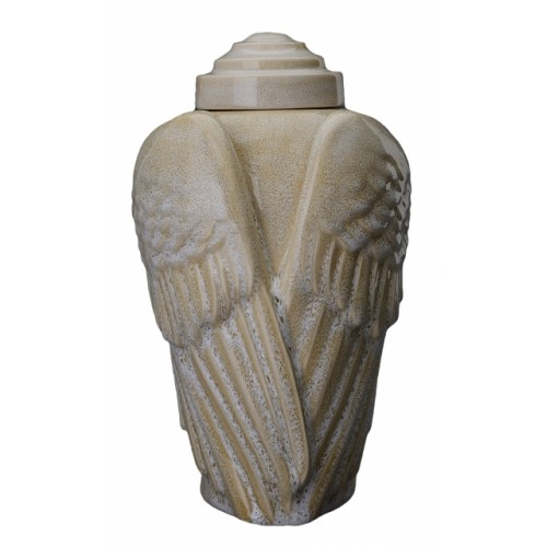 Angelic Wings - Ceramic Cremation Ashes Urn – Light Sand Melange