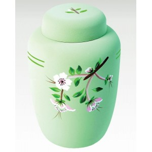 Cornstarch EcoUrn - Green Floral - Hand Painted Natural Funeral Products - Buy Direct