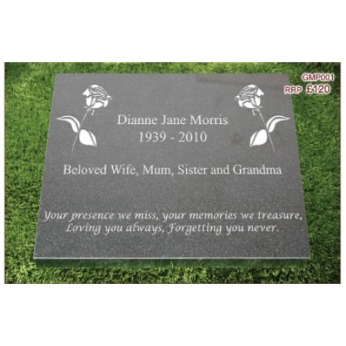 "Granite Memorial Plaque - Size: 12"" x 12"" x 1"" - (FREE ENGRAVING)"
