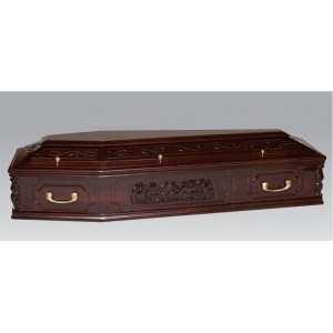 Premium Solid Wood THE LAST SUPPER Coffin - High Gloss Mahogany Stain
