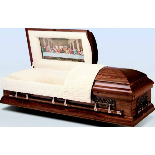 The Last Supper Hardwood American Casket - Religious Motif Hardware