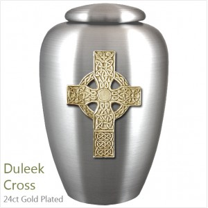The English Pewter Cremation Ashes Urn – Duleek Religious Cross – Gold Plated Adornment
