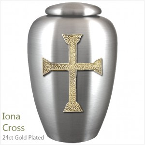 The English Pewter Cremation Ashes Urn – Iona Traditional Celtic Cross – Gold Plated Adornment