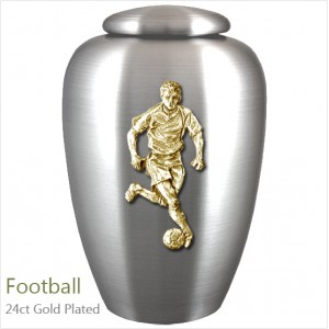 The English Pewter Cremation Ashes Urn – Football Player / Supporter – Gold Plated Adornment