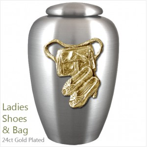 The English Pewter Cremation Ashes Urn – Ladies Shoes & Bag / Fashion – Gold Plated Adornment