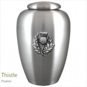 The English Pewter Cremation Ashes Urn – Scotland / Scottish Thistle – Solid Pewter Adornment