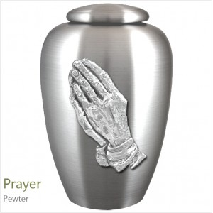 The English Pewter Cremation Ashes Urn – Hands in Prayer – Solid Pewter Adornment