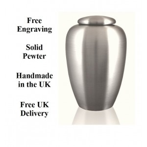 Classic Pewter Urn  (FREE ENGRAVING) - Upload your own Logo