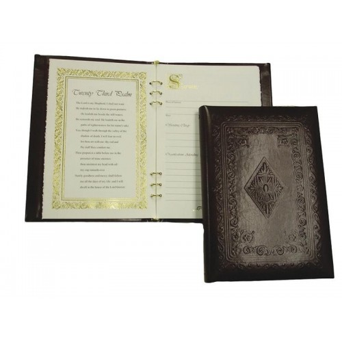 Embossed Leather Book of Condolence