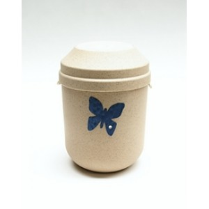 Biodegradable Urn (Cream with Butterfly Motif)