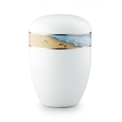 Biodegradable Urn (White with Footprints in the Sand Border)