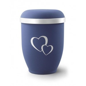 Biodegradable Urn (Blue with Silver Heart Design) **40% OFF RRP**