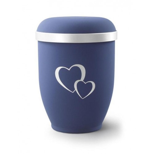 Biodegradable Urn (Blue with Silver Heart Design)