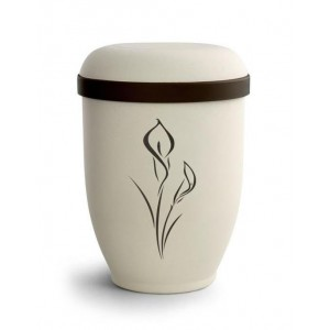 Biodegradable Urn (Natural Stone with Calla Lily Design) **INEXPENSIVE URNS**