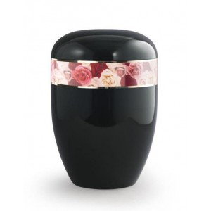 Biodegradable Urn (Black with Roses Border)