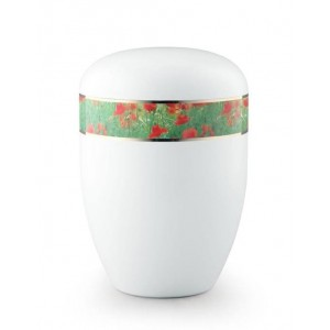 Biodegradable Urn (White with Poppies Border)