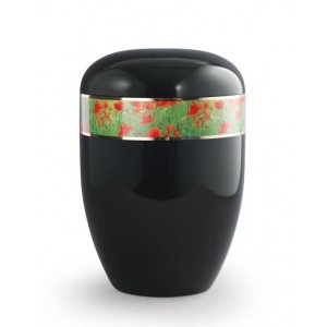 Biodegradable Urn (Black with Poppies Border)