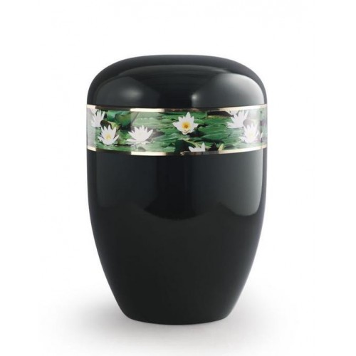 Biodegradable Urn (Black with Water Lily Border)