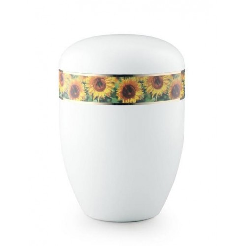 Biodegradable Urn (White with Sunflower Border)