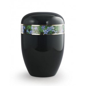 Biodegradable Urn (Black with Forget Me Not Border)