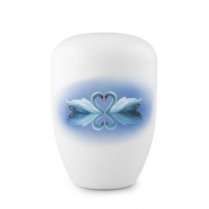 Biodegradable Urn (White with Swans Motif)