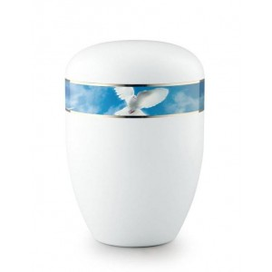 Biodegradable Urn (White with Dove in Flight Border)