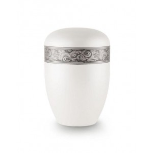 Biodegradable Urn (White with Silver Decorative Border)
